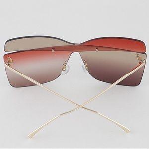 Geometric Retro Rimless Ombre Tinted Sunglasses